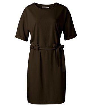 YAYA 1809331-115  Jersey dress with wrickled waist cord Coffee