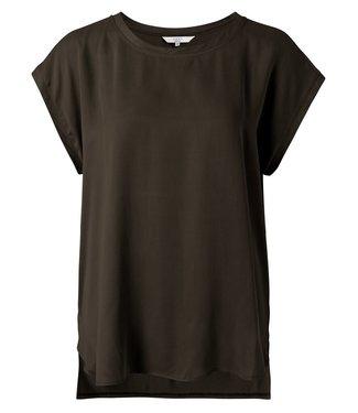 YAYA 1901116-115  Fabric mix top Coffee