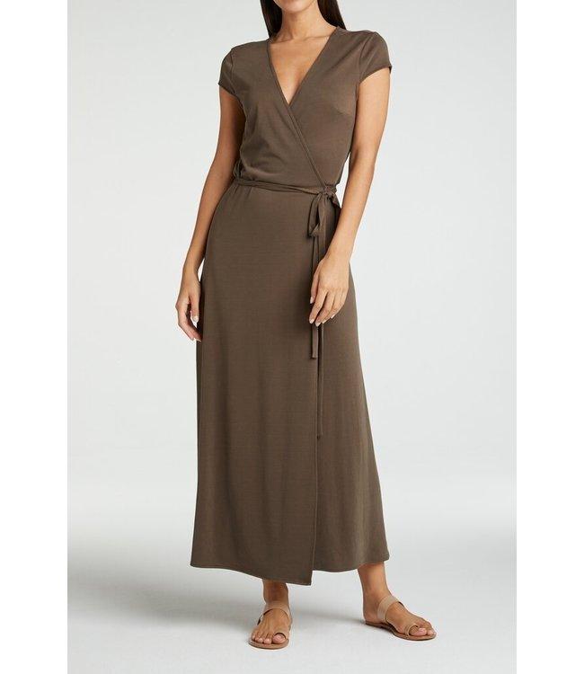 YAYA 1809342-115  Long jersey wrap dress Coffee