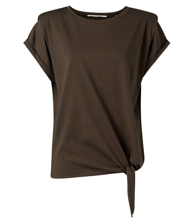 YAYA 1909440-115  Top with shoulder detail and knot at front Coffee