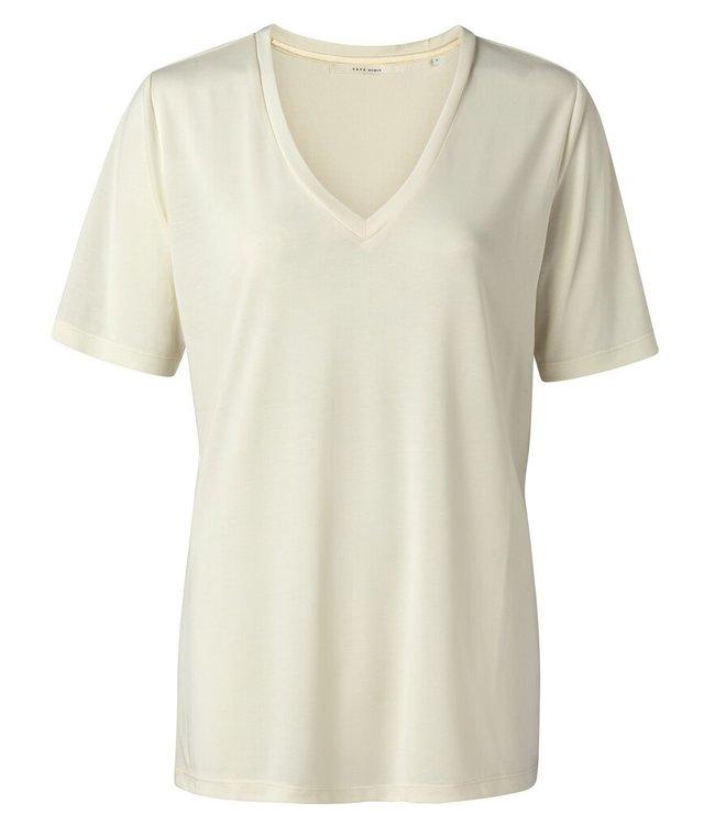 YAYA 1919121-115  Modal v-neck t-shirt Buttermilk