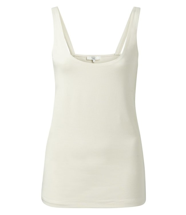 YAYA 1919178-115  Double layer singlet with round neck Sand