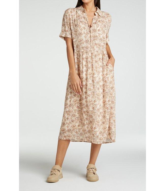 YAYA 1801340-115 Printed maxi button up dress in viscose Pink dessin