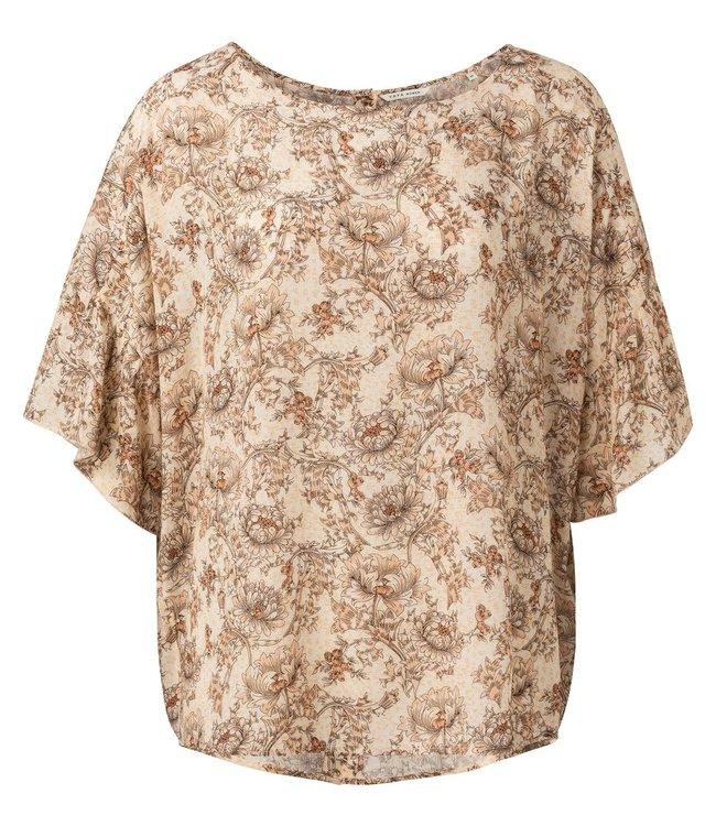 YAYA 1901441-115  Printed top with ruffled sleeve