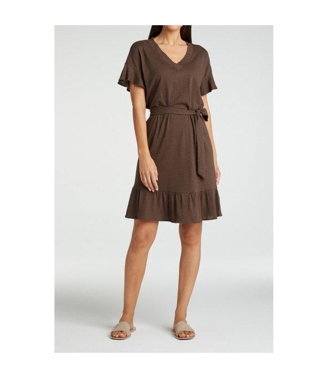 YAYA 1809332-115  Linen blend dress with ruffle and strap belt coffee