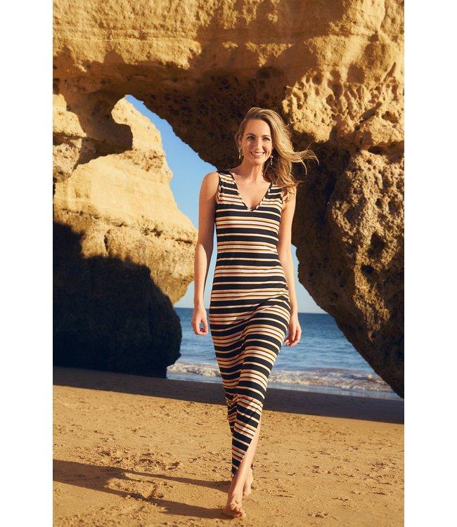 Tramontana D16-99-501  Dress dark summer stripes Blacks