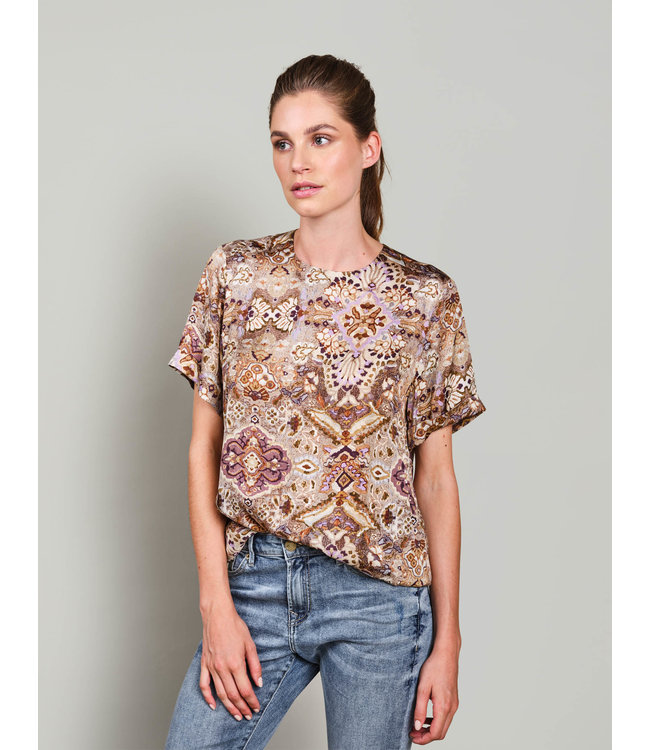 Summum Woman 2s2661-11505  Top short sleeves faded ornament