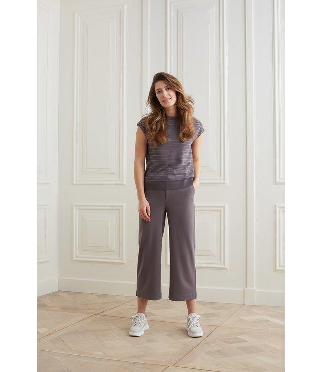 YAYA 1211083-121  High waist culotte pantalon in viscose blend fabric