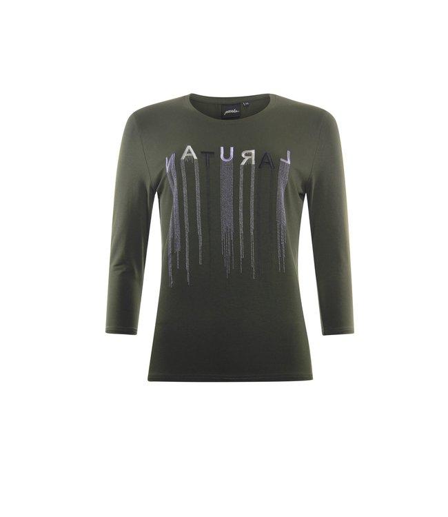 Poools 133163  T-shirt borduur Dark olive