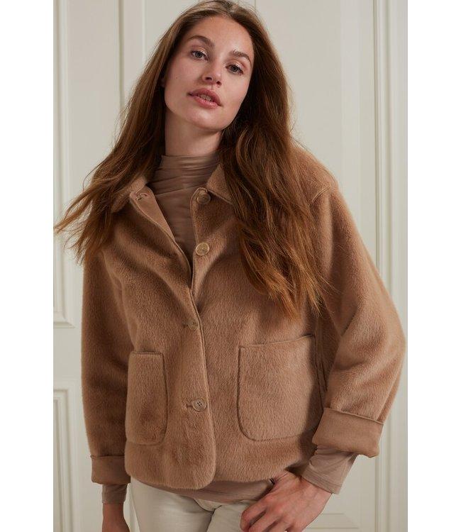 YAYA 162117-122  Short fake fur jacket with button closure