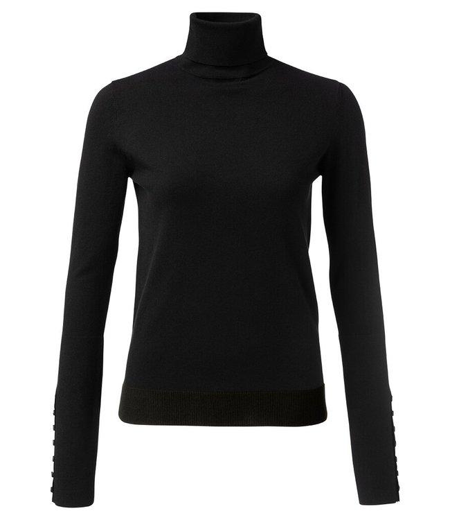 YAYA 1000216-122-black  High neck sweater with button