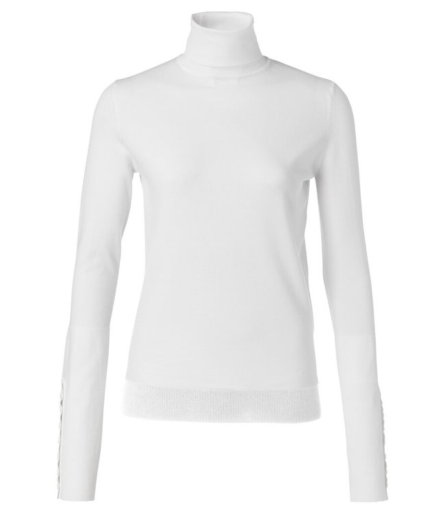YAYA 1000216-122-woolwhite  High neck sweater with button