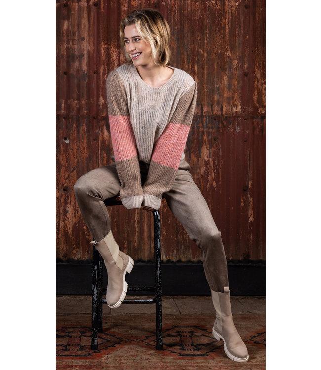 Poools 133106  Sweater contrast sleeve Pebble
