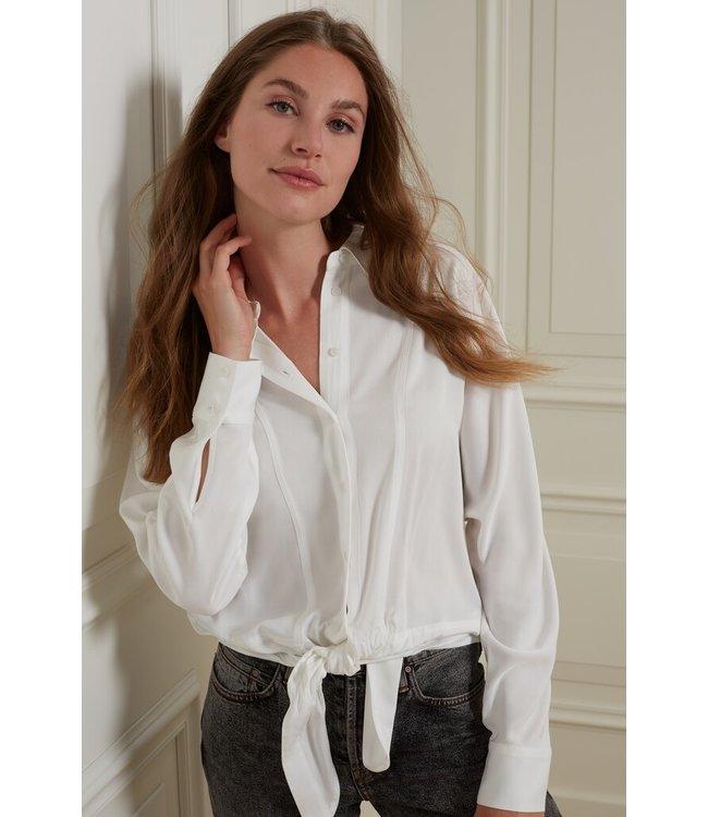 YAYA 1101253-123  Boxy button up blouse with tie detail at bottom hem