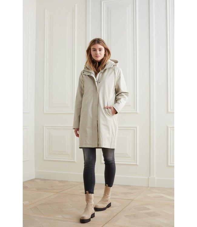 YAYA 1629033-123  Raincoat with embossed effect and fur hood
