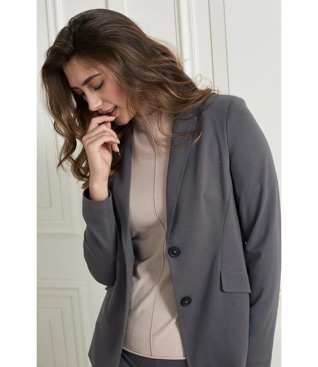 YAYA 1509085-121  Jersey slim fit blazer with pockets in a lyocell blend