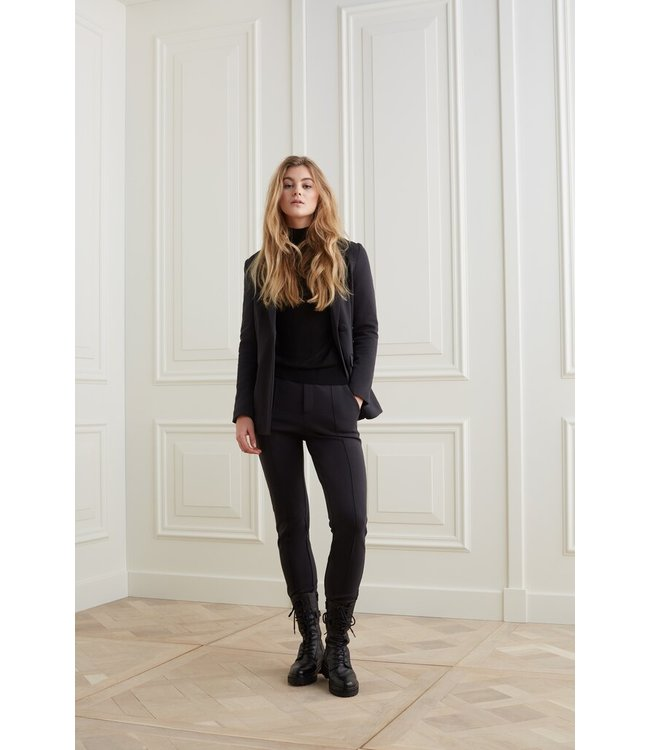 YAYA 1209164-122-black  Jersey tailored trousers in a cotton blend fabric