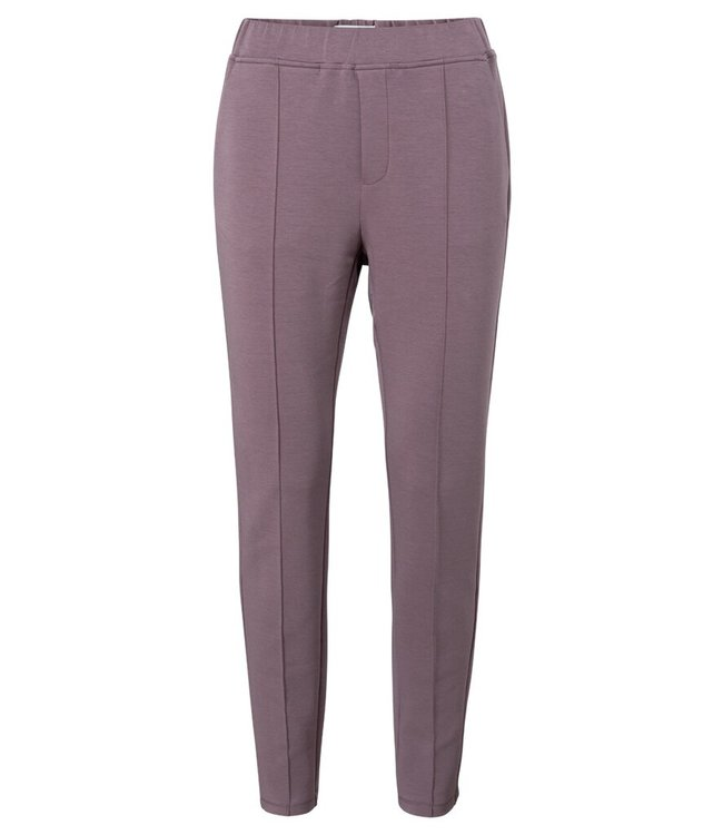 YAYA 1209164-123-brown  Jersey tailored trousers in a cotton blend fabric