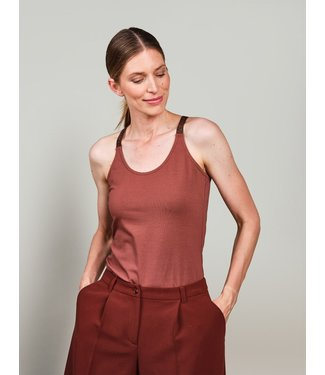 Summum Woman 3s4483-30258-pecan  Singlet crossband organic cotton ea luxury basics