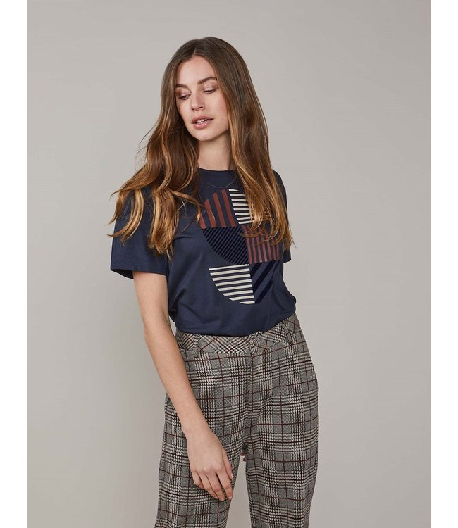 Summum Woman 3s4586-30285  Tee striped artwork cotton modal ecovero