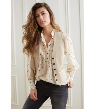 YAYA 1101252-123-greyfishgreendessin  Printed button up blouse with volume sleeve in Lyocell