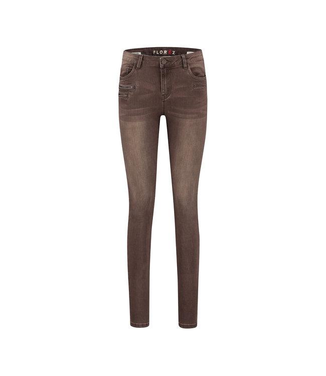 Florez CharmeurZip-brown  Skinny jeans