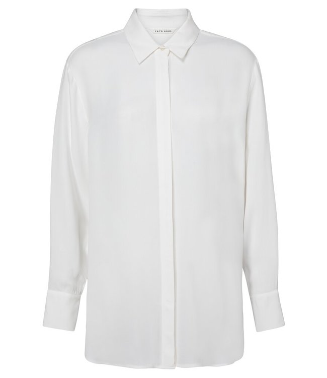 YAYA 1101257-124  Flowy long sleeve shirt with blind button closure in Viscose