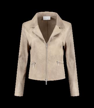 Helena Hart 7288-sand Zipper biker jacket