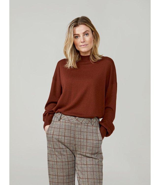 Summum Woman 7s5588-7832  Mock neck sweater extra fine merino viscose mix