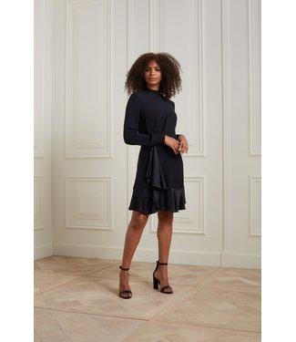 YAYA 1801400-125  Ruffle dress short with round neckline