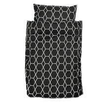 Bettbezug + Kissenbezug Grid Zwart