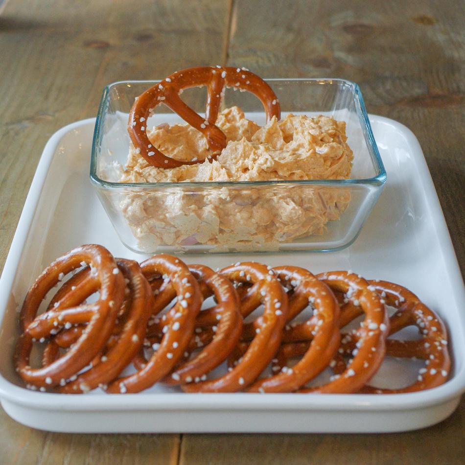 obatzter with pretzels and vegan camembert