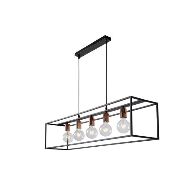 Lucide hanglamp zwart 5 x E27 fitting koper