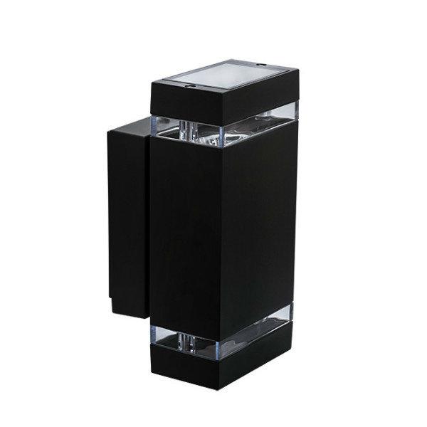 Kanlux Buitenlamp wandlamp op en neer schijnend vierkant zwart 230 Volt