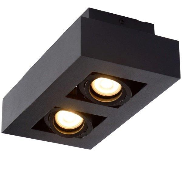 Lucide Moderne Dim to Warm LED spot tweevoudig zwart kantelbaar