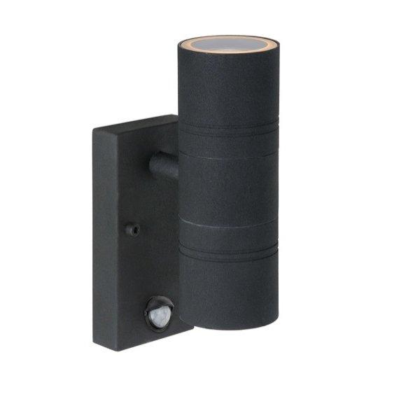 Lucide LED buitenlamp zwart koker op en neer schijnend met sensor