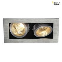 SLV Inbouw spot Kardan 230 Volt 2 spots GU10 aluminium geborsteld