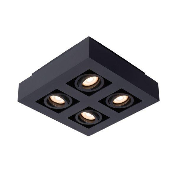 Lucide Moderne Dim to Warm LED spot viervoudig zwart kantelbaar