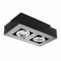 Kanlux Moderne plafondspot tweevoudig zwart kantelbaar