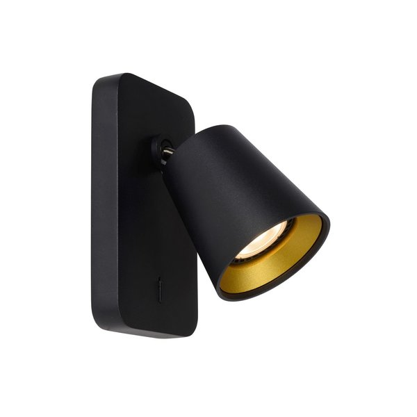 Lucide TURNON - Wandspot - LED Dim to warm - GU10 - 1x5W 2200K/3000K - Zwart