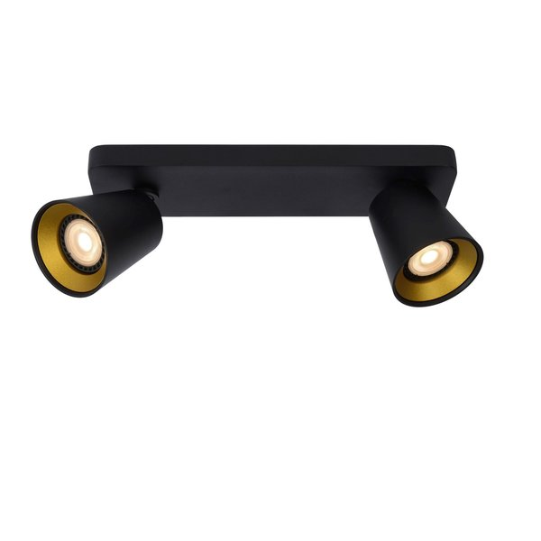 Lucide TURNON - Plafondspot - LED Dim to warm - GU10 - 2x5W 2200K/3000K - Zwart