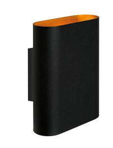 Lucide Wandlamp zwart/goud 2x E14