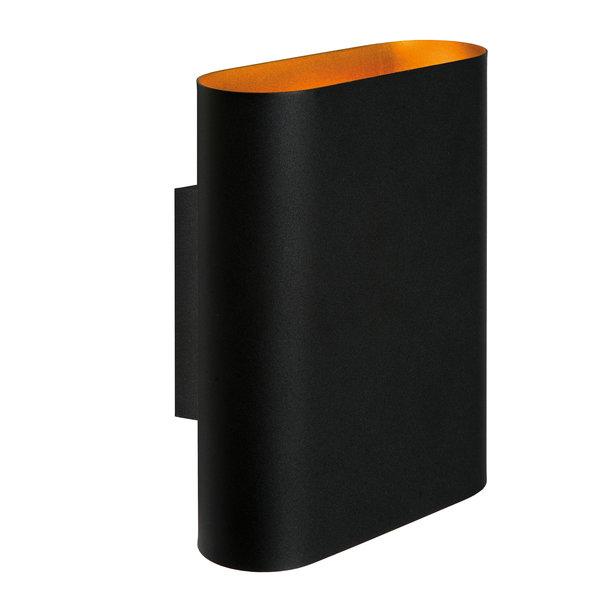 Lucide Wandlamp mat zwart - binnenkant goud 2x E14