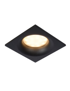 Lucide IP44 inbouwspot zwart GU10 vierkant