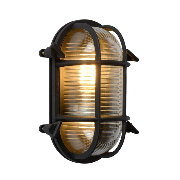 Lucide DUDLEY Buiten Wandlamp Ovaal IP65 E27/40W Zwart