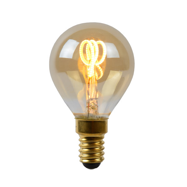 Lucide Lucide LED Bulb Filament lamp Ø 4,5 cm LED Dimb. E14 3W 2200K Amber