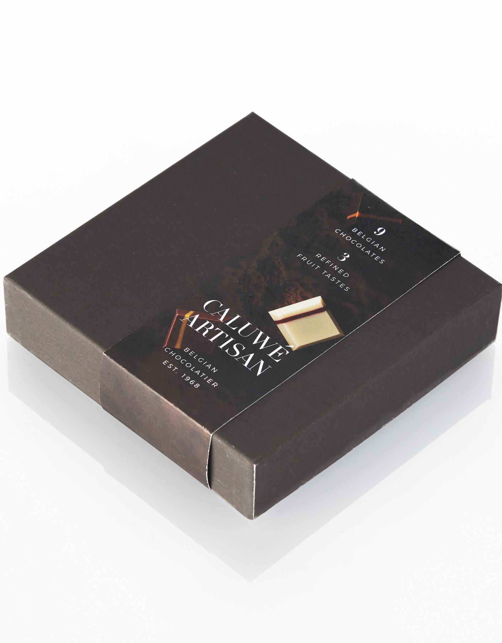 Caluwe Artisan Assortiment de 9 chocolats Belges fourrés avec saveur de fruits 105g