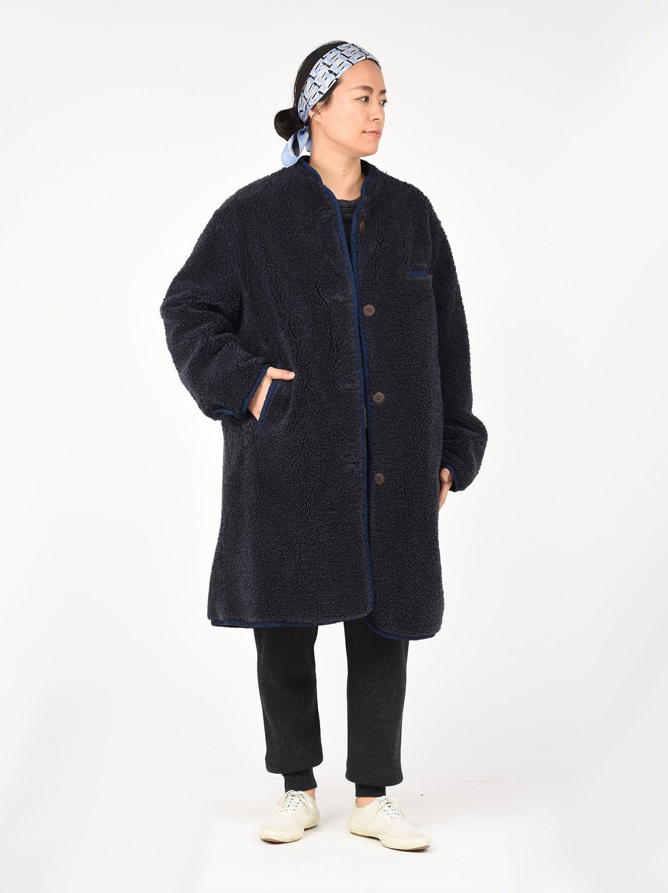 Indigo Mugi Yoko-shusu Sheep Boa 908 Coat-3