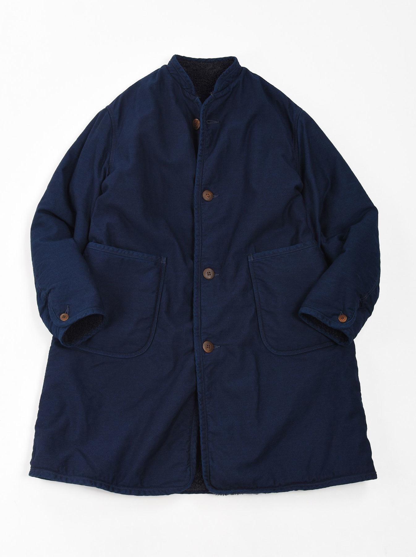 Indigo Mugi Yoko-shusu Sheep Boa 908 Coat-1