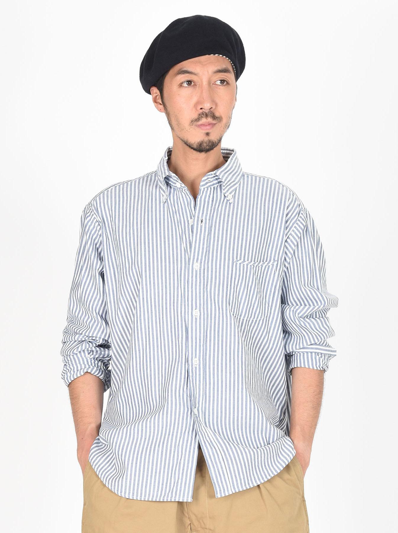 Indigo Thin Oxford Button Down Shirt-3